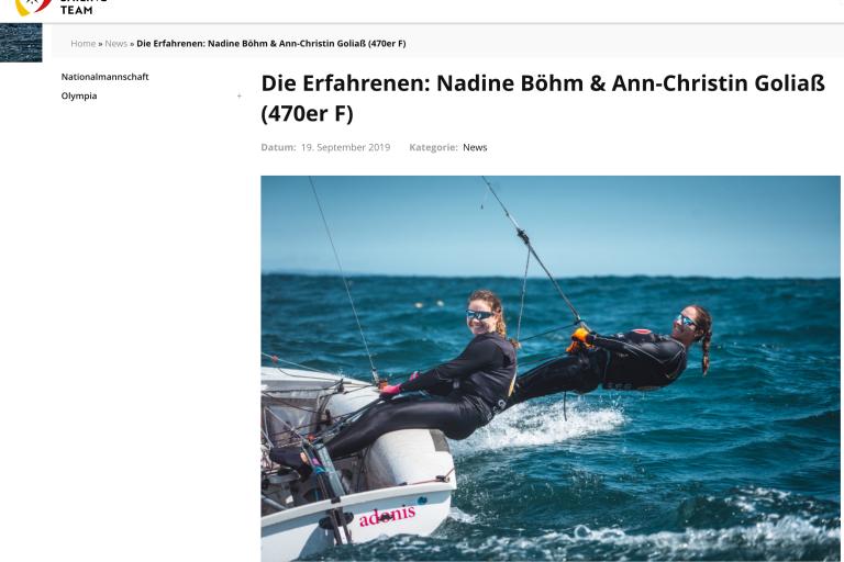 Portrait von Nadi Böhm und Ann-Christin Goliaß auf der Website des German Sailing Teams